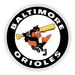 Baltimore Orioles Mascot Round   Die Cut Decal