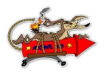Wlie E Coyote Launching ACME Rocket  Die Cut Decal