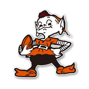 "Cleveland Browns "" Mascot"" Die Cut Decal"