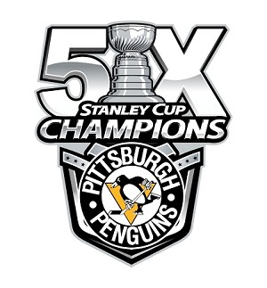 Pittsburgh Penguins 5 Times Stanley Cup Champions  Die Cut Decal