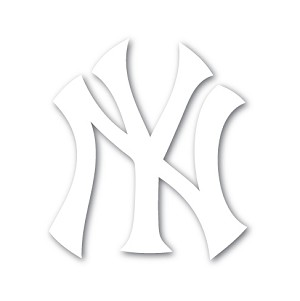 "New York Yankees ""NY"" White  Die Cut Decal"