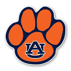 Auburn Tigers  Paw (Orange) Die Cut Decal