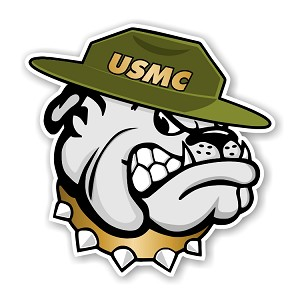 USMC Bulldog with Hat Marines Die Cut Decal
